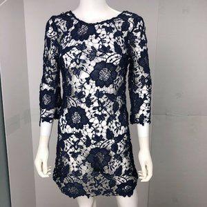 I Joah Navy Blue Knitted See Through Shift Dress